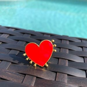 Red And Gold Heart Adjustable Ring NWT